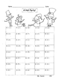 Addition to 10 Fluency Facts Drill Practice Hats Theme Great with Seuss