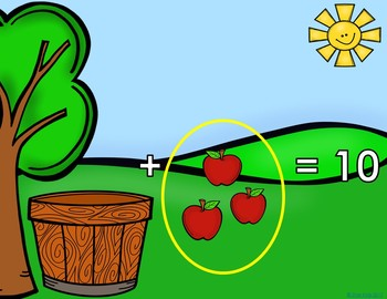 Addition to 10 Game Apples in the Basket for K-1 {PowerPoint on PDF Format}