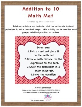 Addition to 10 Math Mat FREEBIE