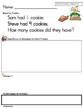 Addition to 10 Math Word Problems ** Set 2 ** Read,Draw,An