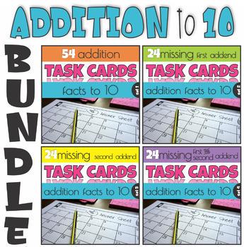 Addition to 10 Missing Addends Task Cards BUNDLE
