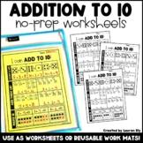 Addition to 10 - No-Prep Worksheets OR Work Mats - Kinderg