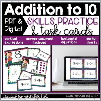 Addition to 10 Task Cards & Games | PDF & Digital for Distance Learning