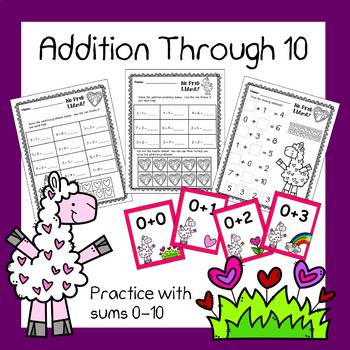 Addition to 10 Practice - Worksheets and Flashcards (Llama Theme)