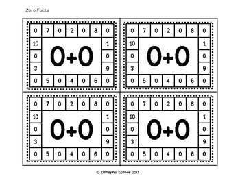 Addition to 10 Punch Cards (Fine Motor Activities)