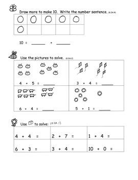 Addition to 10 Review and Assessment Kindergarten Common Core All Standards