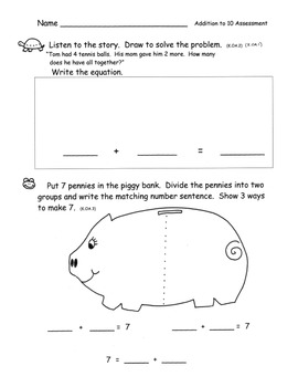 Addition to 10 Review and Assessment Kindergarten Common C