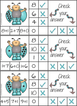Addition to 10 Math Facts Self Checking Clip It Cards