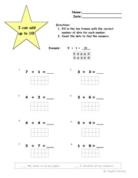 FREE Ten Frames Addition to 10