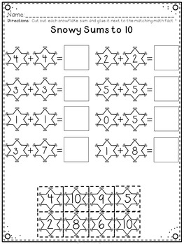 Addition to 10 Winter Centers and Printables