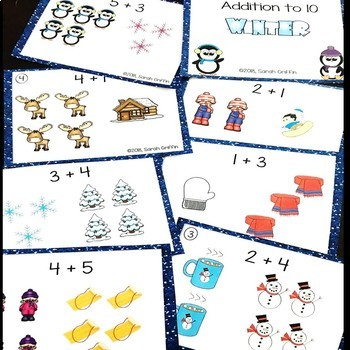 Addition to 10 ~ Winter Math Center ~ SCOOT Task Cards