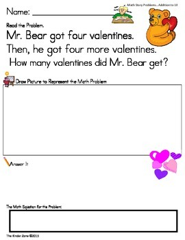Addition to 10 Word Problems on Valentine's Day ** Read, Draw & Answer It!