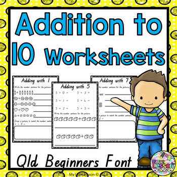 Addition to 10 Worksheets: QLD Beginners Font