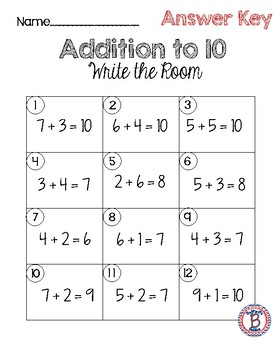 Addition to 10 Write the Room