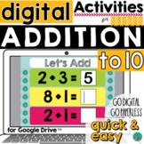 Addition to 10 for Google Classroom Activities DISTANCE LEARNING