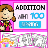 Color by Number Addition to 100 with Mystery Word Spring