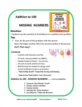 Addition to 100 | Missing Numbers | Core Math| SCOOT Game |Task Cards| Gr  2-3
