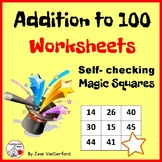 Addition to 100 Worksheets ... Magic Squares ... Self-checking,  MATH Gr. 2