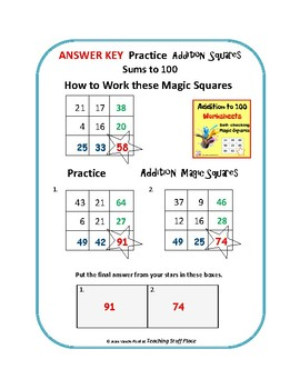 Addition To 100 Worksheets Magic Squares Self Checking Math