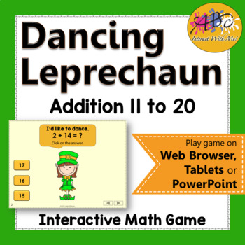 Addition to 11 to 20 Interactive Math Game {Dancing Leprechaun}