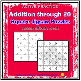Addition to 20 - Active Practice - Square Jigsaw Puzzles -