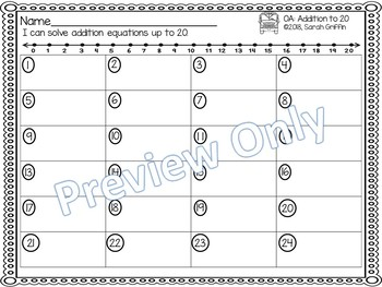 Addition to 20 ~ Back to School Math Center ~ Black and White Task Cards