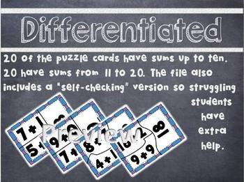 Addition to 20 Balanced Equation Puzzles