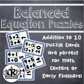 Addition to 20 Balanced Equation Puzzles