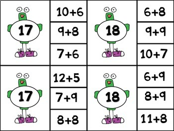 Addition Math Center - Clip Cards with Gus the Plus