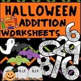 Addition to 20 Fact Fluency Worksheets - Halloween Themed