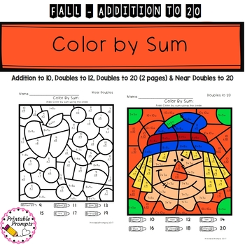 Fall Color By Number Addition to 20 by PrintablePrompts | TpT