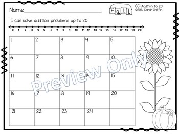 Addition to 20 Fall Task Cards Math Center