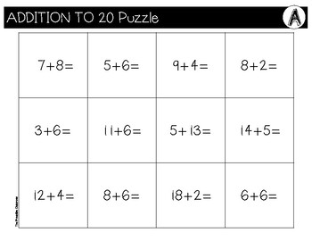 Addition to 20 File Folder Puzzles School Supply Theme