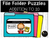 Addition Game to 20 File Folder Puzzles Back to School Math