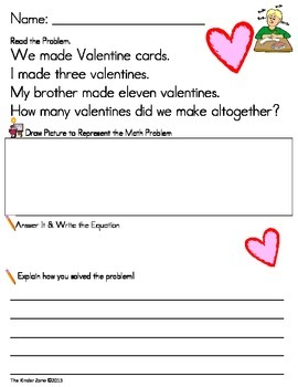Addition to 20 Math Word Problems **Valentine's Day* Read,Draw,Answer It