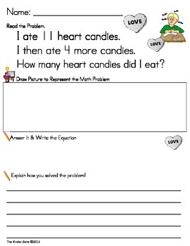 Addition to 20 Math Word Problems **Valentine's Day* Read,
