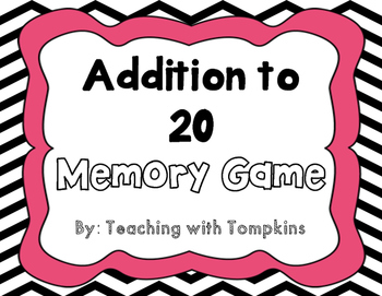 Addition to 20 Memory Math Game