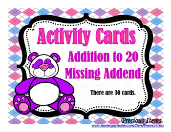 Addition to 20 - Missing Addend Activity Cards