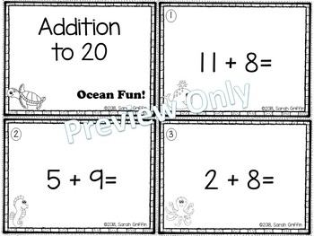 Addition to 20 ~ Ocean Math Center ~ Black and White Task Cards