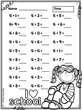 Addition to 20 Sprints for Math Fluency {{Back to School}}