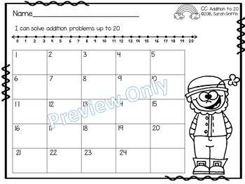 Addition to 20 ~ St. Patrick's Math Center ~ Task Cards