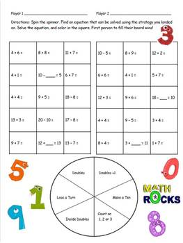 Math Strategies Game - Addition to 20 2.OA.2