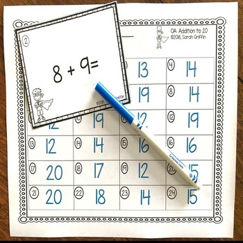 Addition to 20 ~ Superhero Math Center ~ Black and White Task Cards
