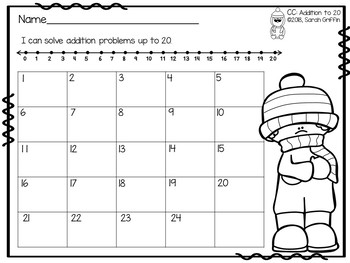 Addition to 20 ~ Winter Math Center ~ Task Cards