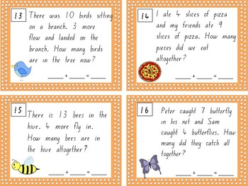 Addition to 20 Word Problem Write and Wipe Cards