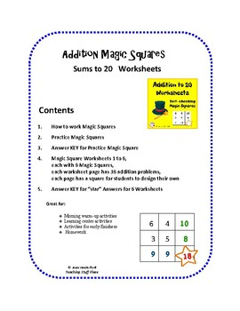Addition to 20 Worksheets ... Magic Squares ... Self-checking MATH Grades 1-2