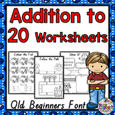 Addition to 20 Worksheets: QLD Beginners Font