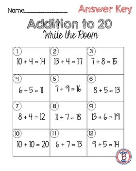 Addition to 20 Write the Room