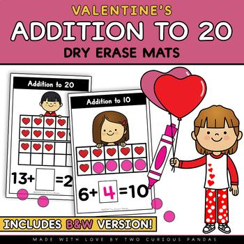 Addition to 20 (ten frames) - Valentine's Day