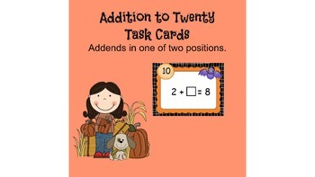 Addition to 20 with Missing Addends Bats Theme